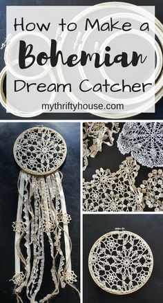 How to Make a Bohemian Dream Catcher with embroidery hoops and crocheted doilies. The post How to Make a Bohemian Dream Catcher with embroidery hoops and crocheted doilies appeared first on Diy. Doily Dream Catchers, Dream Catcher Craft, Dream Catcher Boho, Making Dream Catchers, Homemade Dream Catchers, Dream Catcher Bedroom, Dream Catcher Wedding, Dream Catcher Patterns, Wine Bottle Crafts