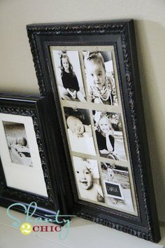 frame with burlap/canvas backing and mini clips for photos...easy to switch out