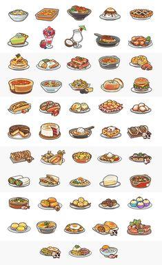 Summer and American Dishes by OracleSaturn on DeviantArt Cute Food Drawings, Cute Kawaii Drawings, Pixel Art Food, Food Art, Printable Stickers, Cute Stickers, Food Doodles, Food Clipart, Food Sketch