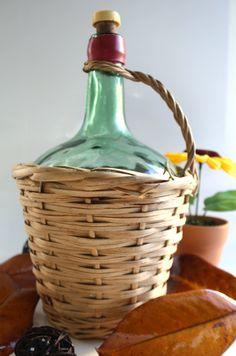 Spanish  Vintage  glass demi john in a wicker by chezvivianne, $35.00