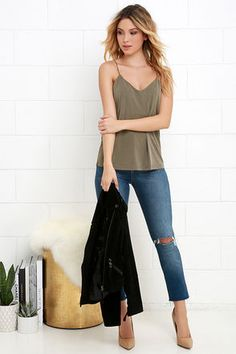 Primary Pick Washed Olive Green Tank Top at Lulus.com!