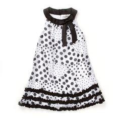 Dotted Chiffon Dress with Ruffles $18.99