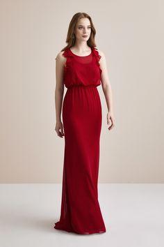 ea455e7cac89e Kırmızı Şifon Askılı Uzun Abiye Elbise – Oleg Cassini