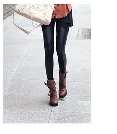 Hot Style Cotton Stitching Imitation Leather Legging - Small/Medium - Black Sofishie. $14.99