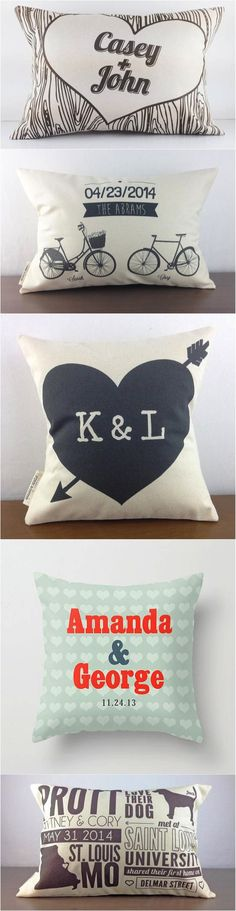 What a sweet gift for a couples' first housewarming party? A personalized pillow, of course! | Made on Hatch.co by independent makers & designers