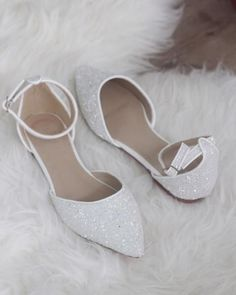 682542de0e6 White Rock Glitter Ankle Strap Flats with Organza Bow - Women Shoes