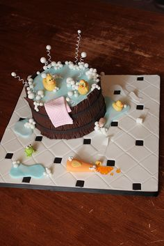 Rubber Duck Cake, love the cake board that looks like a bathroom floor Fancy Cakes, Cute Cakes, Rubber Duck Cake, Lemon Cake Filling, Ice Cake, Cake Board, Novelty Cakes, Cake Decorating Tips, Occasion Cakes