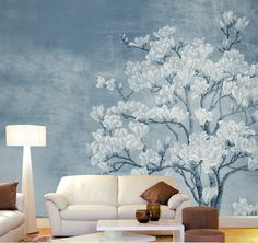 """Magnolia White Flowers Wallpaper Vintage Oriental Floral White Blooms Blue Wall Mural 129.5"""" x 93.7"""" by DreamyHomeCo on Etsy https://www.etsy.com/listing/537233973/magnolia-white-flowers-wallpaper-vintage"""