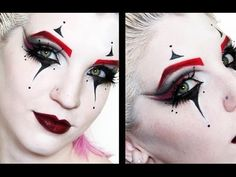 Makeup for clown Jester Makeup, Scary Clown Makeup, Mime Makeup, Scary Clowns, Costume Makeup, Halloween Face Makeup, Harlequin Makeup, Clown Makeup Tutorial, Black And White Clown