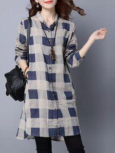 2ca5a33cf Casual Plaid Print irregular manga larga solapa mujeres camisas - NewChic  Móvil