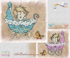 Baby Carriage  Machine Embroidery Designs by ArtEmbroideryDesigns