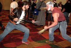 Old man Logan vs Origins Wolvie. Via comicbookcosplaymen on Tumblr. #geek #cosplay #superhero