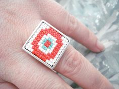 Miyuki delica evil eye silver ring, Evil eye ring, Geometric ring, Protection jewelry, Stylish square ring, Mother's day, Best friend gift. Silver Rings, Trending Outfits, Unique Jewelry, Handmade Gifts, Cards, Etsy, Vintage, Kid Craft Gifts, Craft Gifts