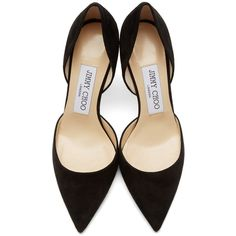Jimmy Choo Black Suede Addison DOrsay Heels (€250) ❤ liked on Polyvore featuring shoes, pumps, heels, black heeled shoes, black pumps, jimmy choo pumps, black pointed toe pumps and suede pointed toe pumps