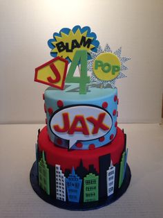 Vintage superhero cake. Link goes to home page. Have to search, but cake is there