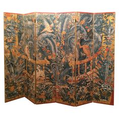Painted Six Panel Screen | From a unique collection of antique and modern screens at https://www.1stdibs.com/furniture/more-furniture-collectibles/screens/