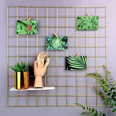 Simmer Stone Rose Gold Wall Grid Panel For Photo Hanging Display Wall Decoration Organizer Multi Functional Wall Storage Display Grid Photo Wall Decor Hanging Photos Frames On Wall