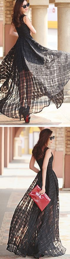 Black Plaid Print Organza Skater Maxi Dress - Choies.com