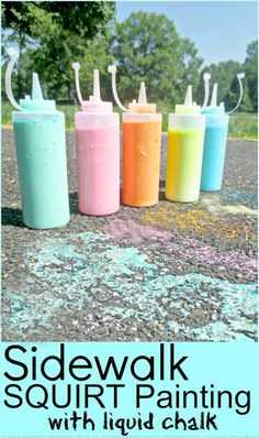Summer Fun with Sidewalk Liquid Chalk! I am so doing this in the summer!
