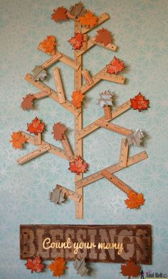 Create an easy Thankful Tree to celebrate the Thanksgiving Holiday. Adorn it with a rustic Count your many Blessing Sign. Fall Crafts, Holiday Crafts, Holiday Fun, Crafts For Kids, Diy Crafts, Holiday Ideas, Wood Crafts, Thanksgiving Tree, Thanksgiving Decorations