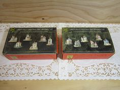 Two Boxes of Six Collectible Liberty Falls Christmas Tree Ornaments * 12 Pieces Hand-Painted Cold Cast Porcelain Miniature Buildings by RainbowConnection15 on Etsy