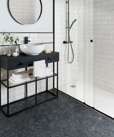 Metro white tile with black rim and hexagon floor tiles! Metro Tiles Bathroom, White Bathroom Tiles, Bathroom Tile Designs, Bathroom Interior Design, Small Bathroom, Wall Tiles, Black Bathrooms, Mirror Bathroom, Black And White Bathroom Ideas