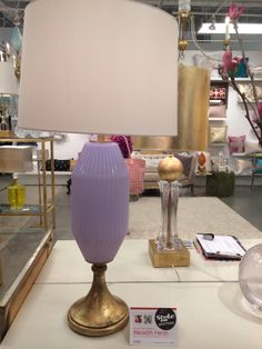Finding the perfect shade of purple or mauve in lighting has long been a struggle for me but no more. This market more than ever before, purples were much easier to find in table lamps. This spectacular bespoke lamp made of Vintage Italian Venetian Glass is by Louise Gaskill. While it is sold (weeps) Louise will make you your own original lamp.  #StyleSpotted by Meredith Heron for Spring #HPMKT  2014