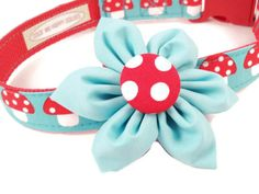 Dog Collar and Flower Set Girly Red Polka Mushroom by ColorMeHappyCollars, $26.00
