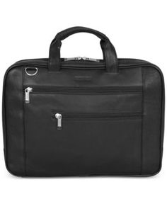 Kenneth Cole Reaction Double Play Leather Double-Compartment Top-Zip Computer Portfolio Case - Black