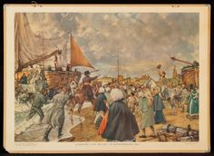 1813 - Landing van Willem I in Scheveningen King William, School Posters, Vintage School, The Hague, Old Paintings, Old Maps, Cornelius, Netherlands, Holland