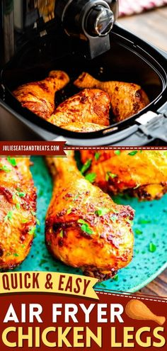 This contains: Air Fryer Chicken Legs, chicken dinner recipes, easy meals Chicken Leg Recipes, Chicken Drumstick Recipes, Chicken Legs, Crispy Chicken, Tandoori Chicken, Easy Dinner Recipes, Easy Meals, Macaroni And Cheese Casserole, Baked Chicken Drumsticks