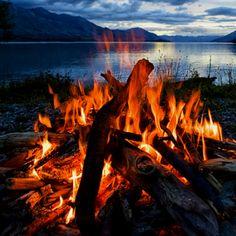 Lake side bonfire.