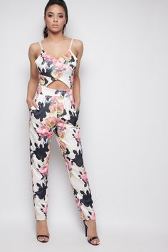 9bc4f767fe Marie White Floral Cut Out Jumpsuit at misspap.co.uk