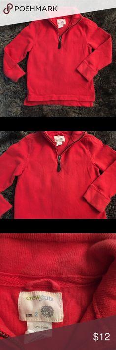 Crewcuts boys sweatshirt sz2 Crewcuts boys sweatshirt size 2. Long sleeve with zipper at top. Reddish/orange in color. Slight fading at collar (refer to last picture) Crewcuts Shirts & Tops Sweatshirts & Hoodies