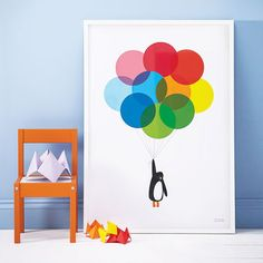 Multicoloured Mr Penguin Balloon Print