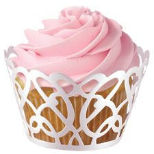 """""""Laser-cut cupcake wrappers in a loop and swirl pattern from Wilton add elegance and style to your everyday cupcakes and muffins. Wilton's swirl cupcake wraps require some easy assembly, and fit most standard sized cupcakes. White Wedding Cupcakes, Fall Wedding Cakes, Beautiful Wedding Cakes, Wedding Ideas, Cupcakes For Weddings, Wedding Shower Cupcakes, Valentine Cupcakes, Bridal Shower Cupcakes, Dream Wedding"""