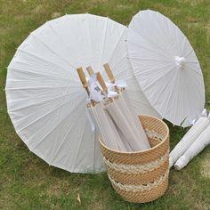 Envío gratis 100pcs/lot blanco de la boda de papel paraguas sombrillas de la boda para el novio