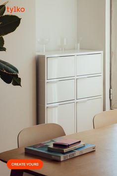 Repurposed Furniture, Diy Furniture, Carpenter Bee Trap, Phone Organization, Chalk Paint Furniture, Space Saving Furniture, Bathroom Colors, Particle Board, Diy Wall Decor