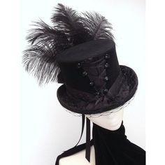 Gothic Neo Victorian corset top hat ❤ liked on Polyvore featuring accessories, hats, top hat, band hats, lace up hat, gothic hats and gothic top hat