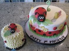 Ladybug themed fondant cake with smaller, buttercream smash cake.