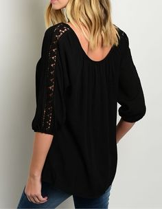 ObsessedToDress.com - Relaxed Fit Top with Crochet Details -Black, $17.99