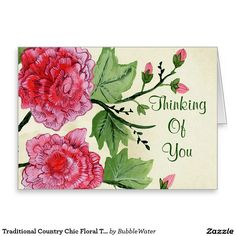 Traditional Country Chic Floral Thinking Of You Stationery Note Card