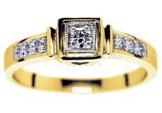 Złoty pierścionek zaręczynowy w stylu Tiffany z brylantami o łącznej masie 0,14 ct - GRAWER W PREZENCIE | PIERŚCIONKI ZARĘCZYNOWE \ Brylant \ Żółte złoto od GESELLE Jubiler
