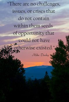 """There are no challenges, issues, or crises that do not contain within them seeds of opportunity that could not have otherwise existed.""  Mike Dooley"
