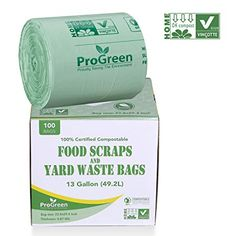 ProGreen 100% Compostable Bags 13 Gallon, Extra Thick 0.87 Mil, 100 Count, Small Kitchen Trash Bags, Food Scraps Yard Waste Bags, Biodegradable ASTM D6400 BPI And VINCOTTE Certified Review Compost Bags, Yard Waste, Biodegradable Products, Count, The 100, Scrap, Kitchen, Food, Garden Junk