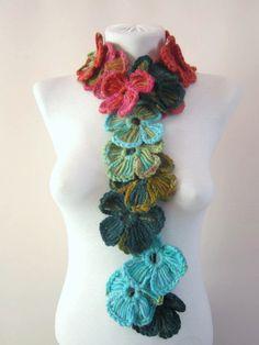 Crochet ScarfFlower scarfLariat scarfGift for by scarfnurlu