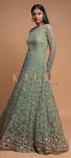 Buy Online from the link below. We ship worldwide (Free Shipping over US$100)  Click Anywhere to Tag Sage Green Indowestern Gown In Net With Embroidered Floral Jaal Online - Kalki Fashion Sage green indowestern gown in net.Accentuated with velvet patch work, thread, sequins and cut dana embroidered floral jaal. Bridal Mehndi Dresses, Wedding Mehndi, Bridal Gowns, Indowestern Gowns, Kurti Designs Party Wear, Wedding Function, Sage, Outfit Ideas, Sequins