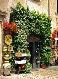 mostlyitaly:  Italy - Green-Framed Door by *AgiVega Beautiful shops, markets and cafes.