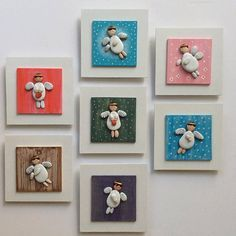 Pebble Art / Stone Art White Wooden Board White Angel by ArzuMusa