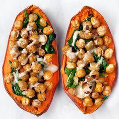 Stuffed Sweet Potato with Crispy Chickpeas, Spinach and Tahini on the feedfeed - - - Stuffed Sweet Potato with Crispy Chickpeas, Spinach and Tahini on the feedfeed – Food Gefüllte Süßkartoffel mit knusprigen Kichererbsen, Spinat und Tahini im Feedfeed – Sweet Potato Recipes, Veggie Recipes, Vegetarian Recipes, Cooking Recipes, Healthy Recipes, Meals With Sweet Potatoes, Drink Recipes, Vegetarian Sweets, Chickpea Recipes